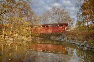 Limited Time Promotion Everett Rd Covered Bridge In Fall Stretched Canvas Print